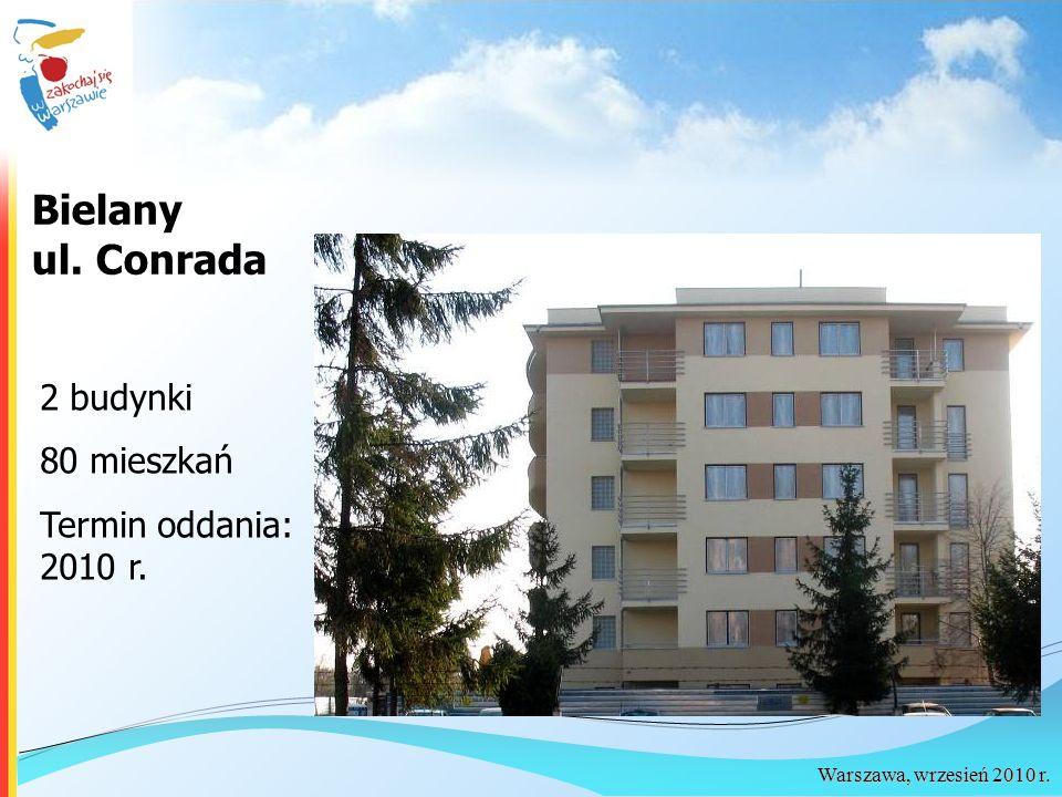Warszawa, wrzesień 2010 r. Bielany ul. Conrada 2 budynki 80 mieszkań Termin oddania: 2010 r.