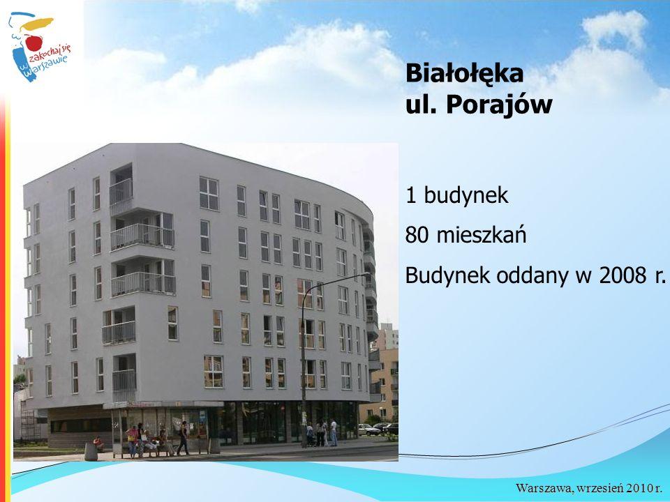 Warszawa, wrzesień 2010 r. Białołęka ul. Porajów 1 budynek 80 mieszkań Budynek oddany w 2008 r.