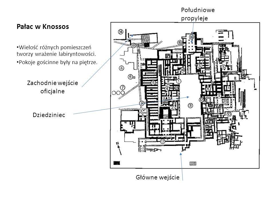 Pałac w Knossos Wielość różnych pomieszczeń tworzy wrażenie labiryntowości.