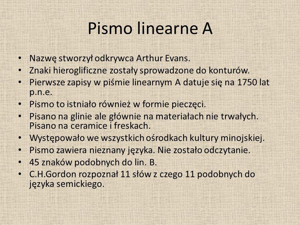 Pismo linearne A Nazwę stworzył odkrywca Arthur Evans.