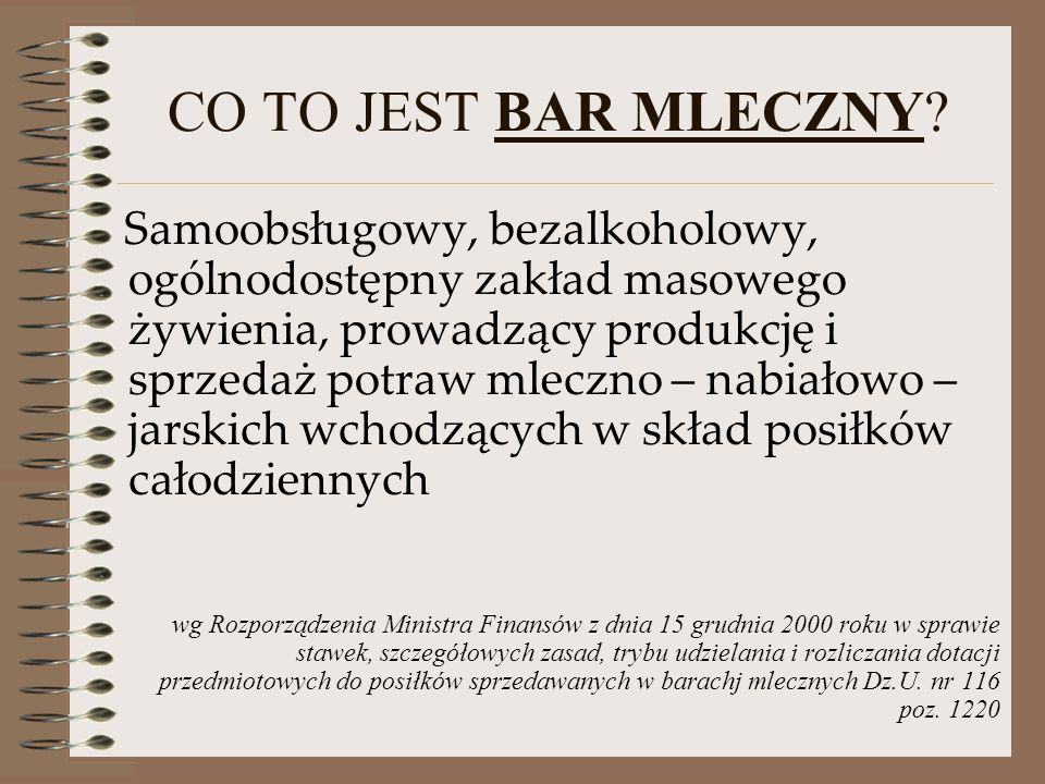 CO TO JEST BAR MLECZNY.
