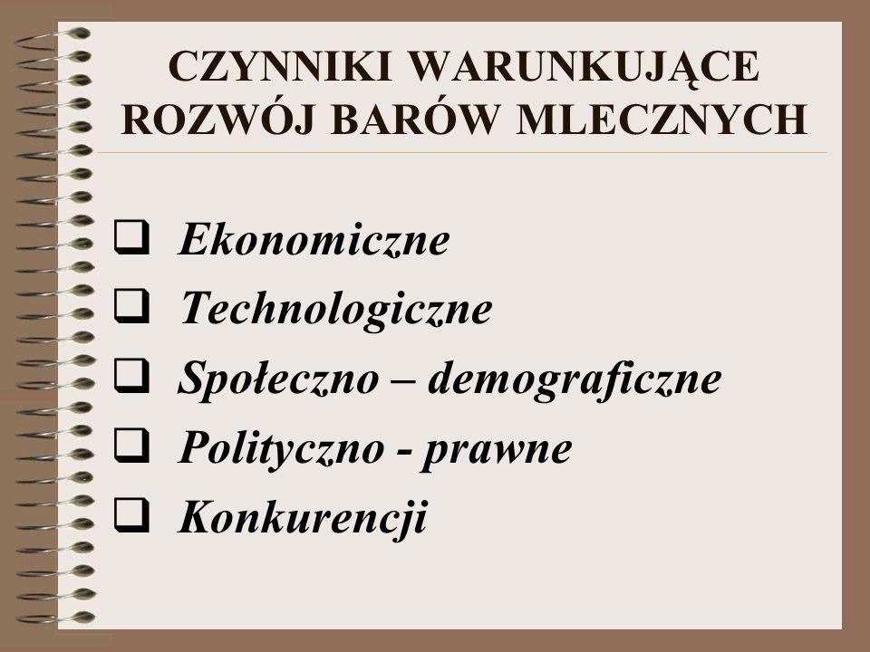 ZAGROŻENIA cofnięcie lub zmniejszenie dotacji wzrost dochodów społeczeństwa zacofanie technologiczne warunki sanitarne w barach mlecznych pojawienie się na rynku usług gastronomicznych konkurenta lokalizacja barów mlecznych w centrum Warszawy łakomym kąskiem dla potencjalnych inwestorów zagranicznych