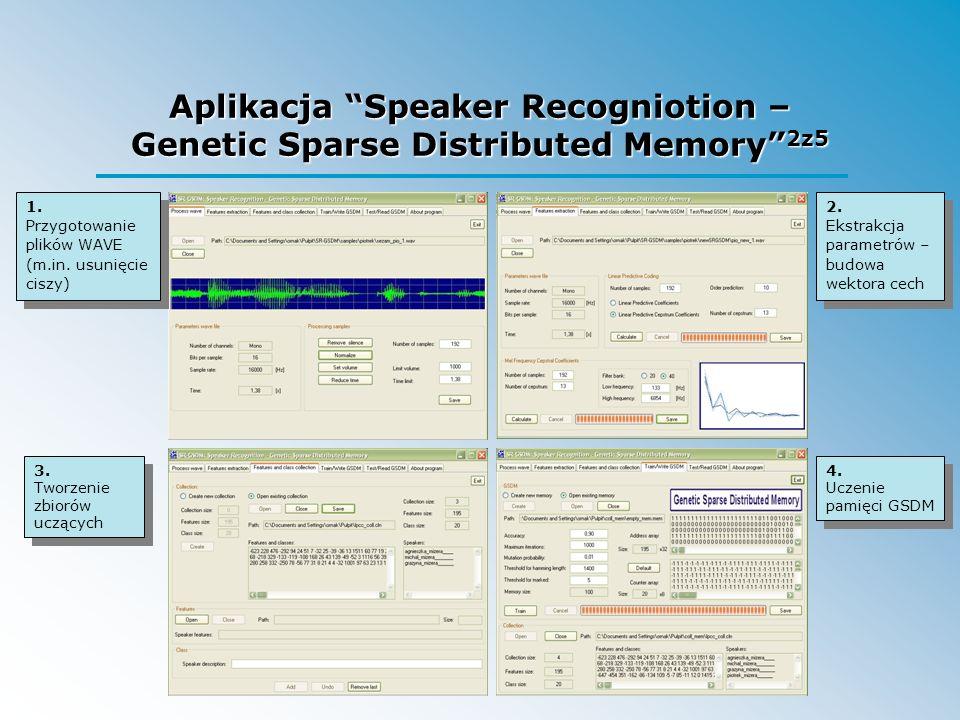 Aplikacja Speaker Recogniotion – Genetic Sparse Distributed Memory 2z5 1. Przygotowanie plików WAVE (m.in. usunięcie ciszy) 2. Ekstrakcja parametrów –