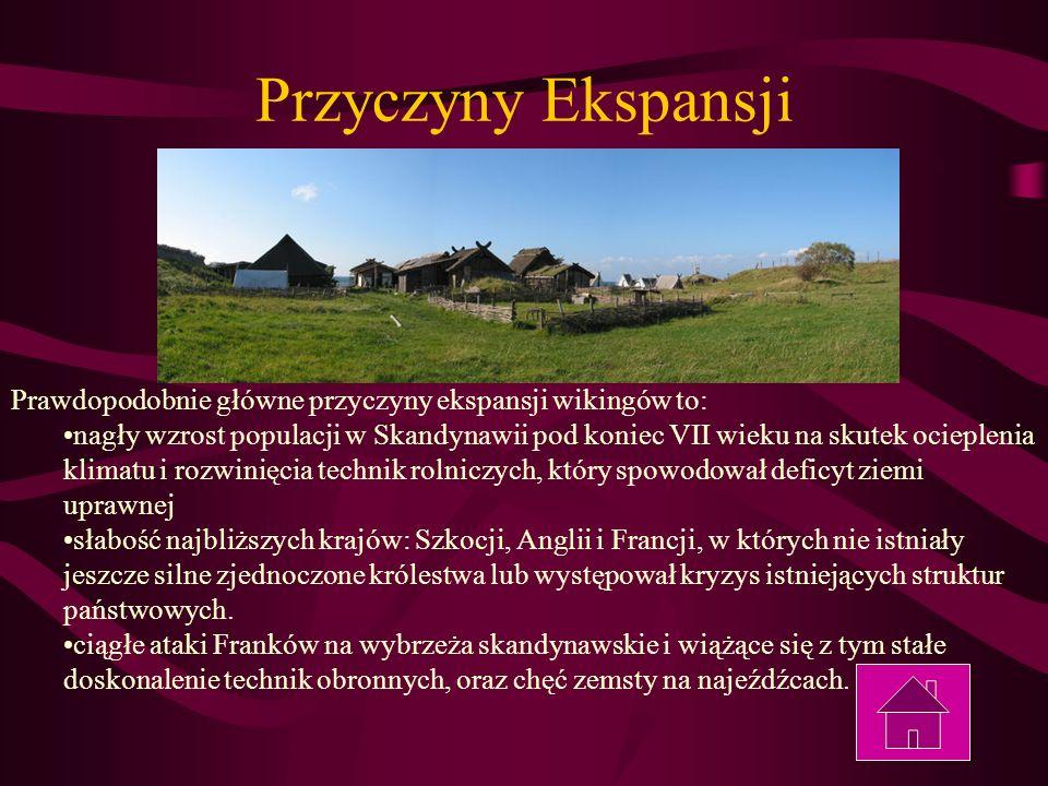 Przyczyny Ekspansji Prawdopodobnie główne przyczyny ekspansji wikingów to: nagły wzrost populacji w Skandynawii pod koniec VII wieku na skutek ocieple