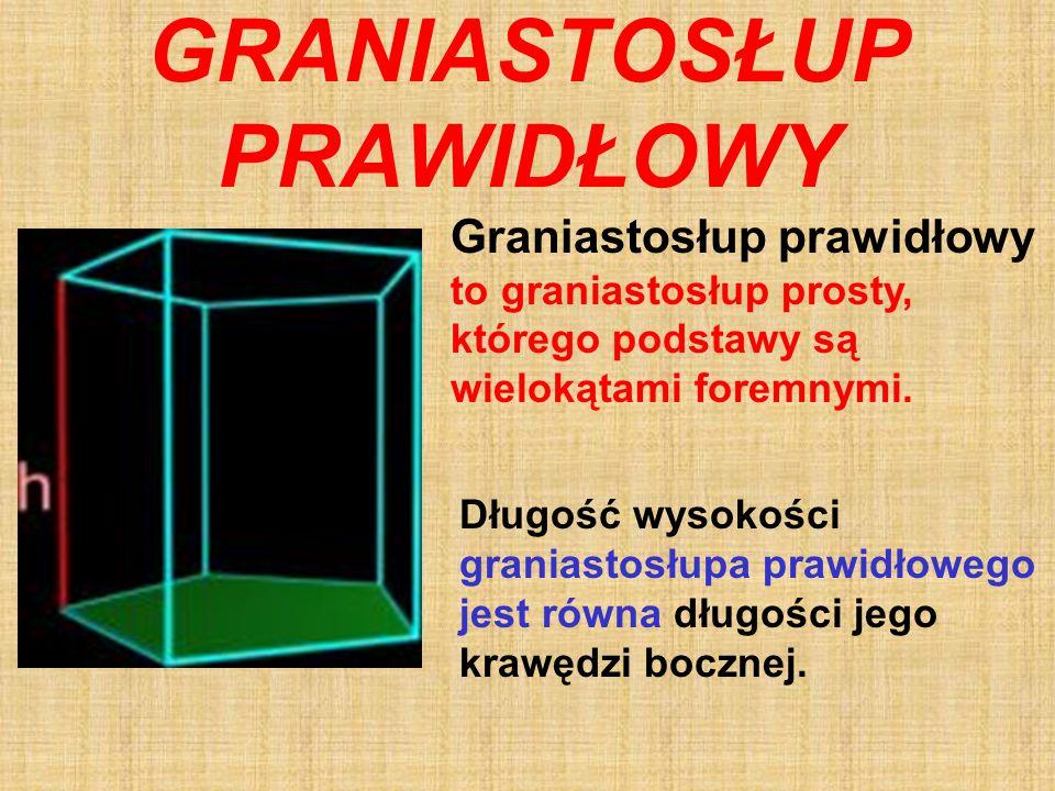 GRANIASTOSŁUP PROSTY Graniastosłup prosty to graniastosłup, w którym krawędzie boczne są prostopadłe do podstaw, a ściany boczne są prostokątami. Dług