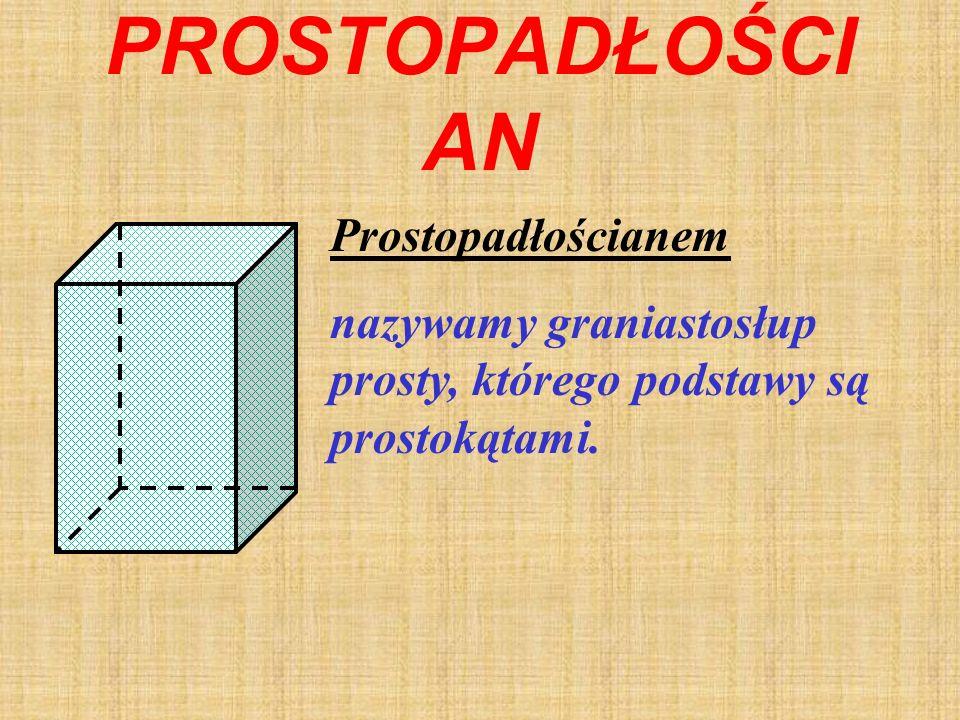 GRANIASTOSŁUP PRAWIDŁOWY Graniastosłup prawidłowy to graniastosłup prosty, którego podstawy są wielokątami foremnymi. Długość wysokości graniastosłupa
