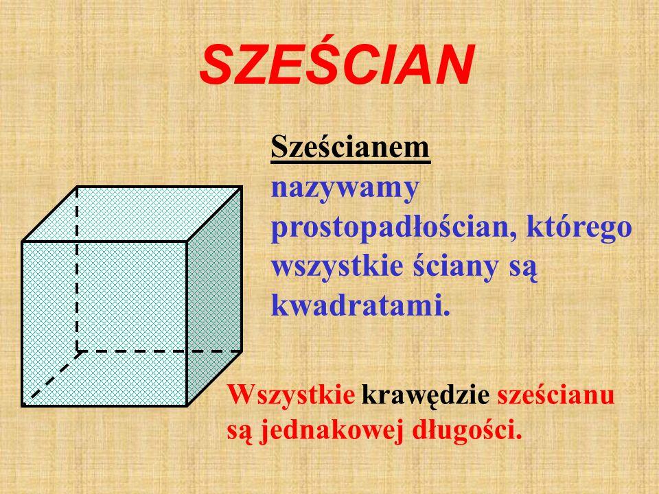 PROSTOPADŁOŚCI AN Prostopadłościanem nazywamy graniastosłup prosty, którego podstawy są prostokątami.