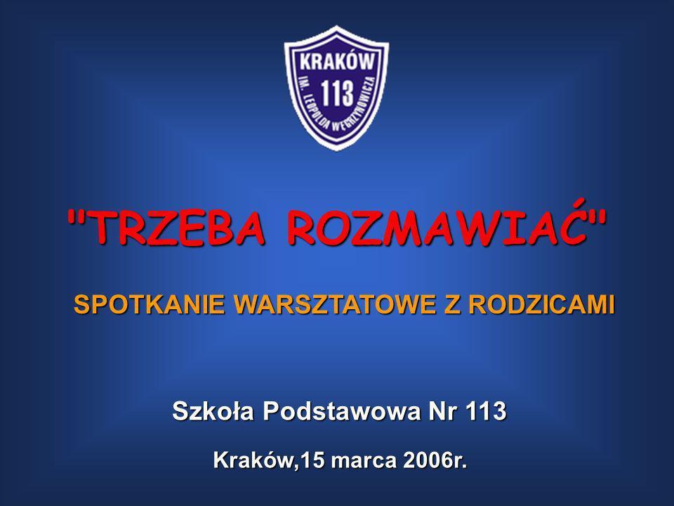 TRZEBA ROZMAWIAĆ SPOTKANIE WARSZTATOWE Z RODZICAMI Kraków,15 marca 2006r.