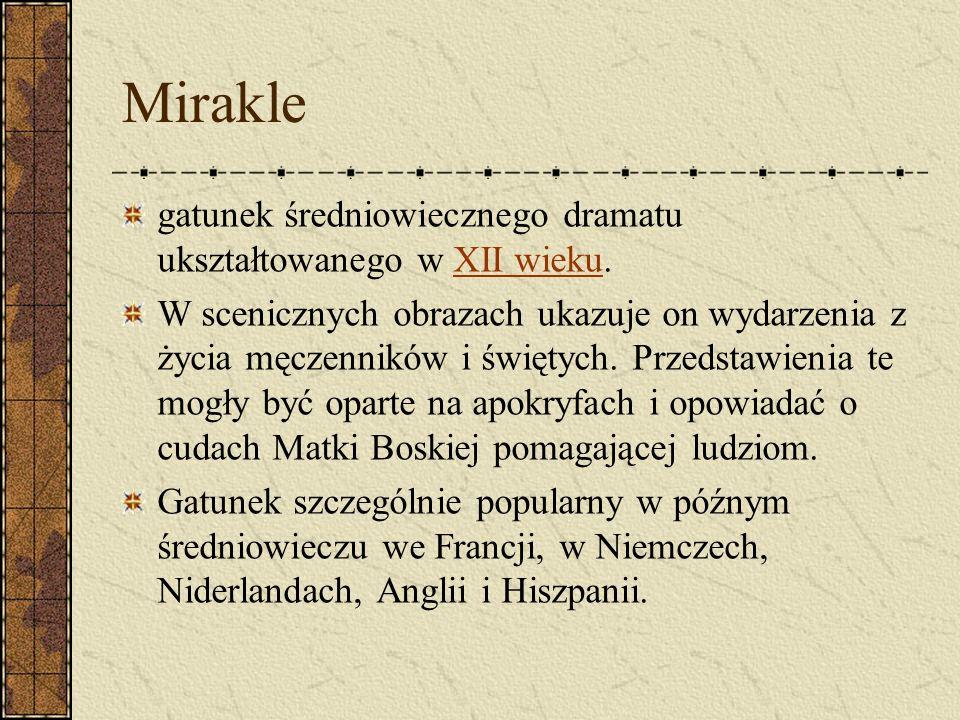 Mirakle gatunek średniowiecznego dramatu ukształtowanego w XII wieku.XII wieku W scenicznych obrazach ukazuje on wydarzenia z życia męczenników i świę
