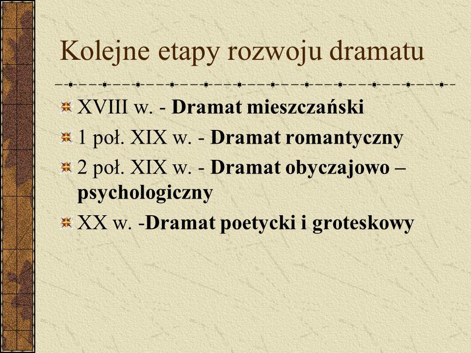 Kolejne etapy rozwoju dramatu XVIII w. - Dramat mieszczański 1 poł. XIX w. - Dramat romantyczny 2 poł. XIX w. - Dramat obyczajowo – psychologiczny XX