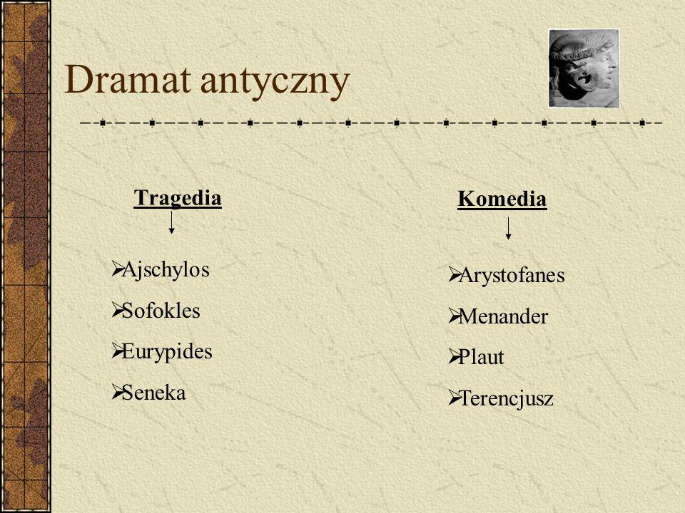 Dramat antyczny Tragedia Komedia Ajschylos Sofokles Eurypides Seneka Arystofanes Menander Plaut Terencjusz