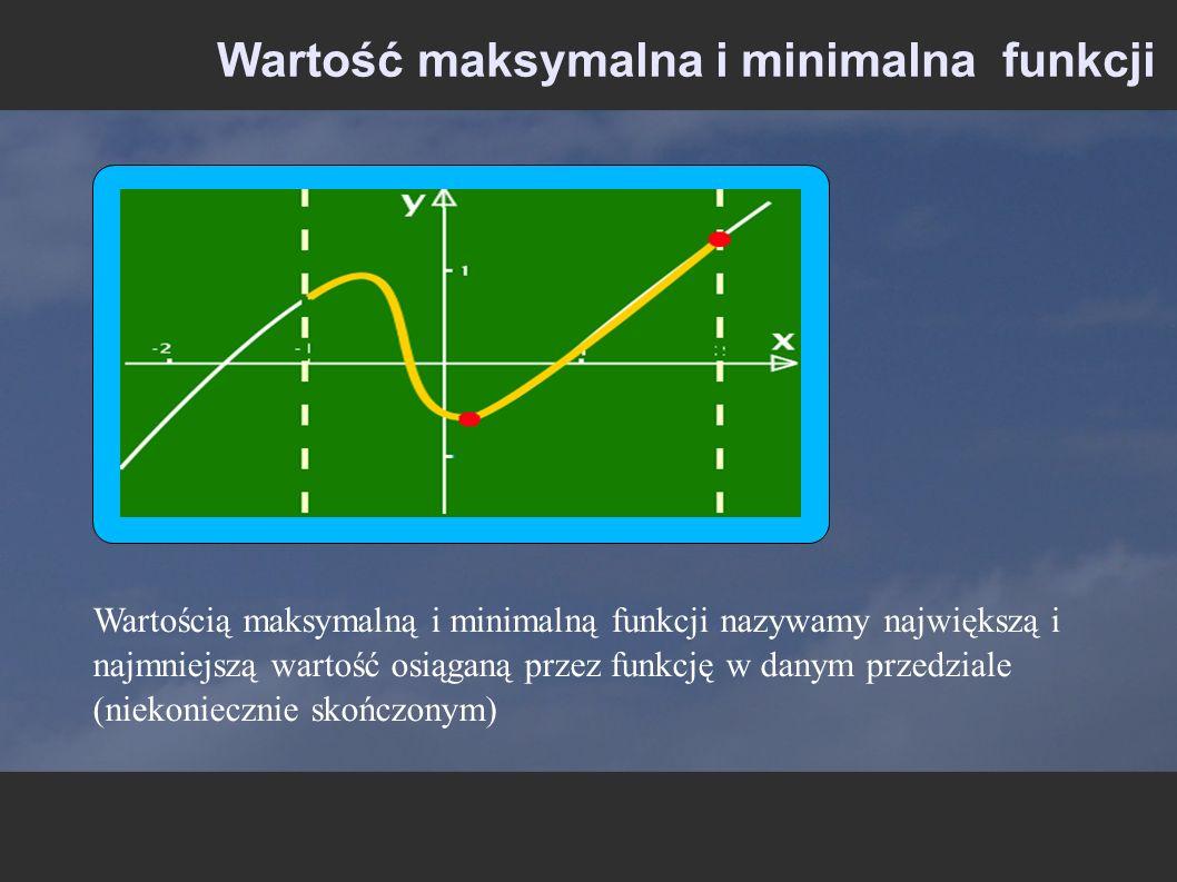 Wartość maksymalna i minimalna funkcji Wartością maksymalną i minimalną funkcji nazywamy największą i najmniejszą wartość osiąganą przez funkcję w dan