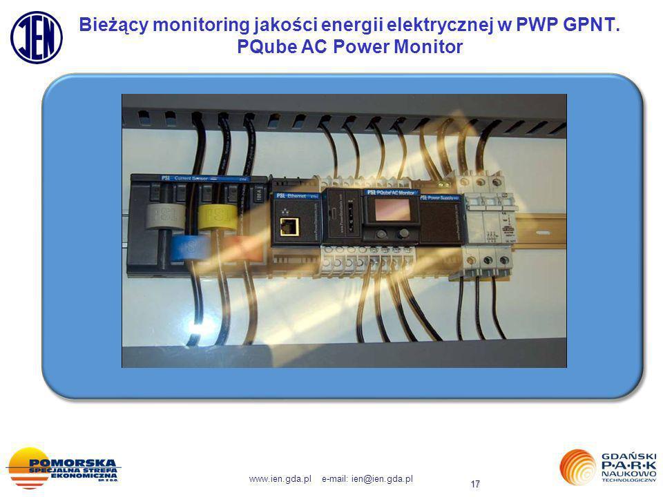 www.ien.gda.pl e-mail: ien@ien.gda.pl 17 Bieżący monitoring jakości energii elektrycznej w PWP GPNT. PQube AC Power Monitor