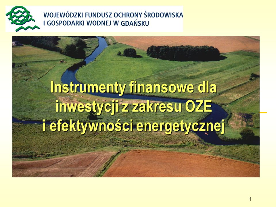 1 Instrumenty finansowe dla inwestycji z zakresu OZE i efektywności energetycznej