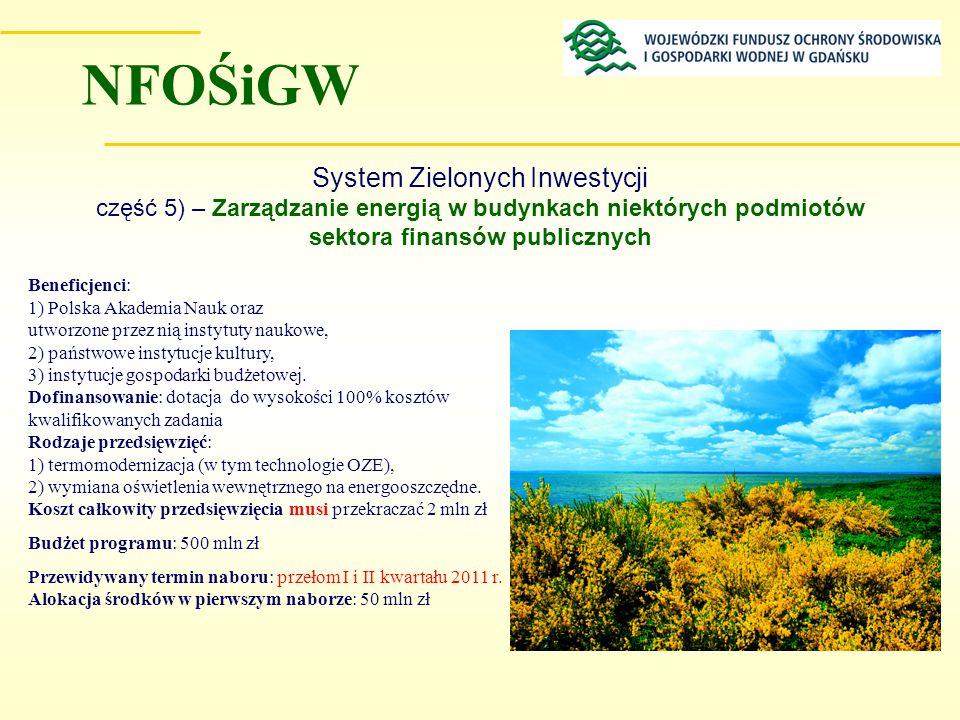 System Zielonych Inwestycji część 5) – Zarządzanie energią w budynkach niektórych podmiotów sektora finansów publicznych Beneficjenci: 1) Polska Akade