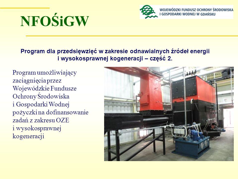 Program dla przedsięwzięć w zakresie odnawialnych źródeł energii i wysokosprawnej kogeneracji – część 2. Program umożliwiający zaciągnięcia przez Woje