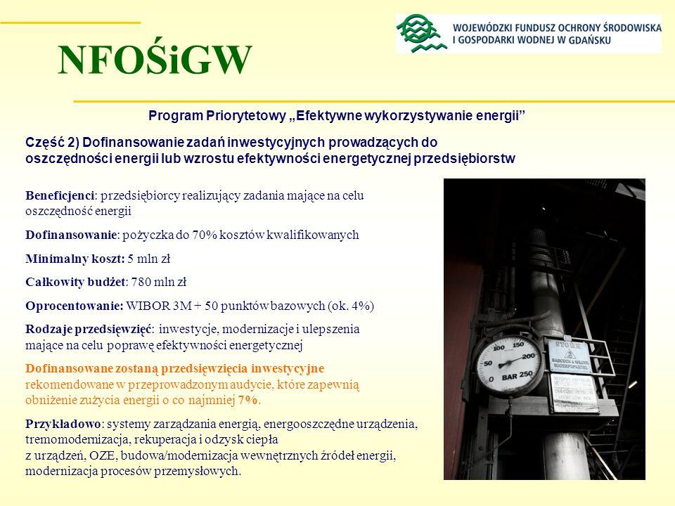 Program Priorytetowy Efektywne wykorzystywanie energii Część 2) Dofinansowanie zadań inwestycyjnych prowadzących do oszczędności energii lub wzrostu e