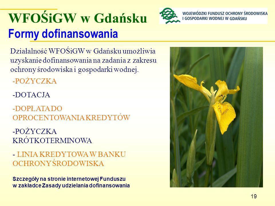 19 WFOŚiGW w Gdańsku Formy dofinansowania -POŻYCZKA -DOTACJA -DOPŁATA DO OPROCENTOWANIA KREDYTÓW -POŻYCZKA KRÓTKOTERMINOWA - LINIA KREDYTOWA W BANKU O