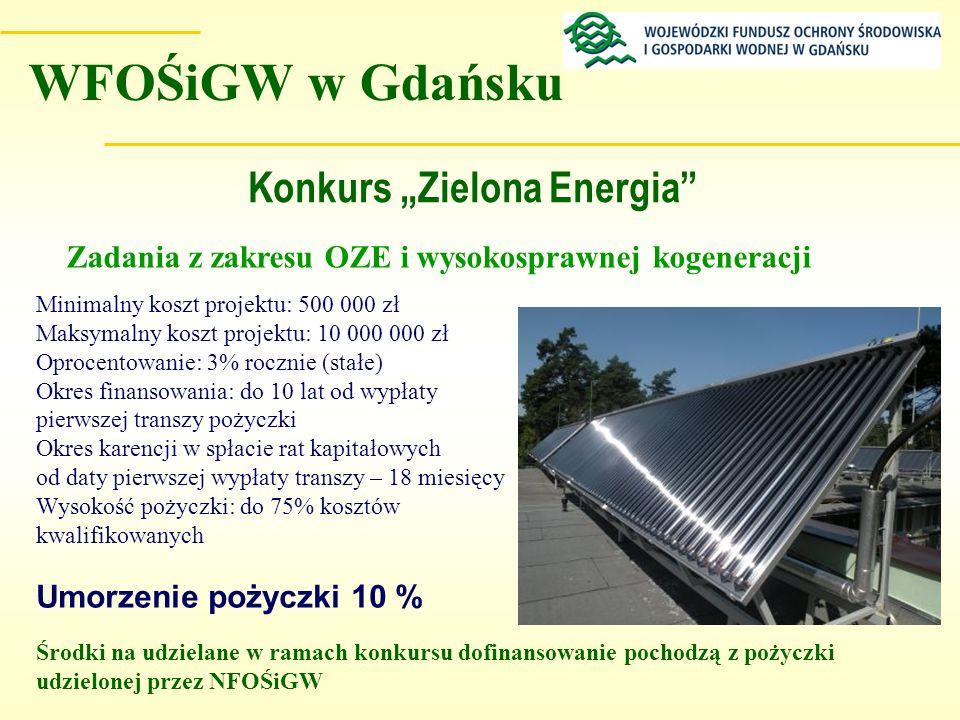 Konkurs Zielona Energia Minimalny koszt projektu: 500 000 zł Maksymalny koszt projektu: 10 000 000 zł Oprocentowanie: 3% rocznie (stałe) Okres finanso