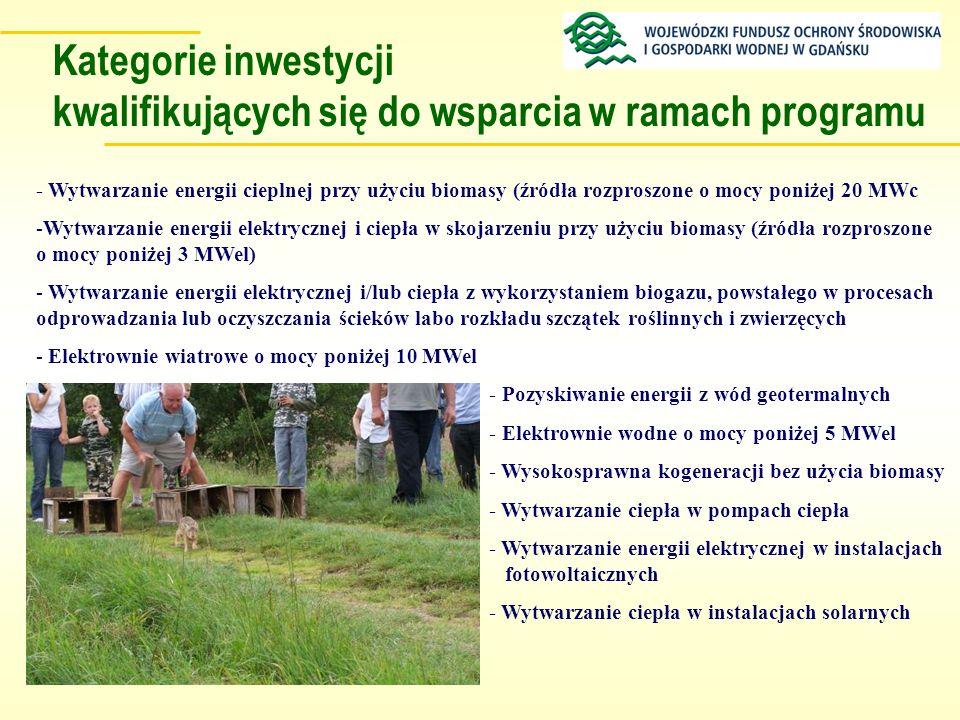 Kategorie inwestycji kwalifikujących się do wsparcia w ramach programu - Wytwarzanie energii cieplnej przy użyciu biomasy (źródła rozproszone o mocy p
