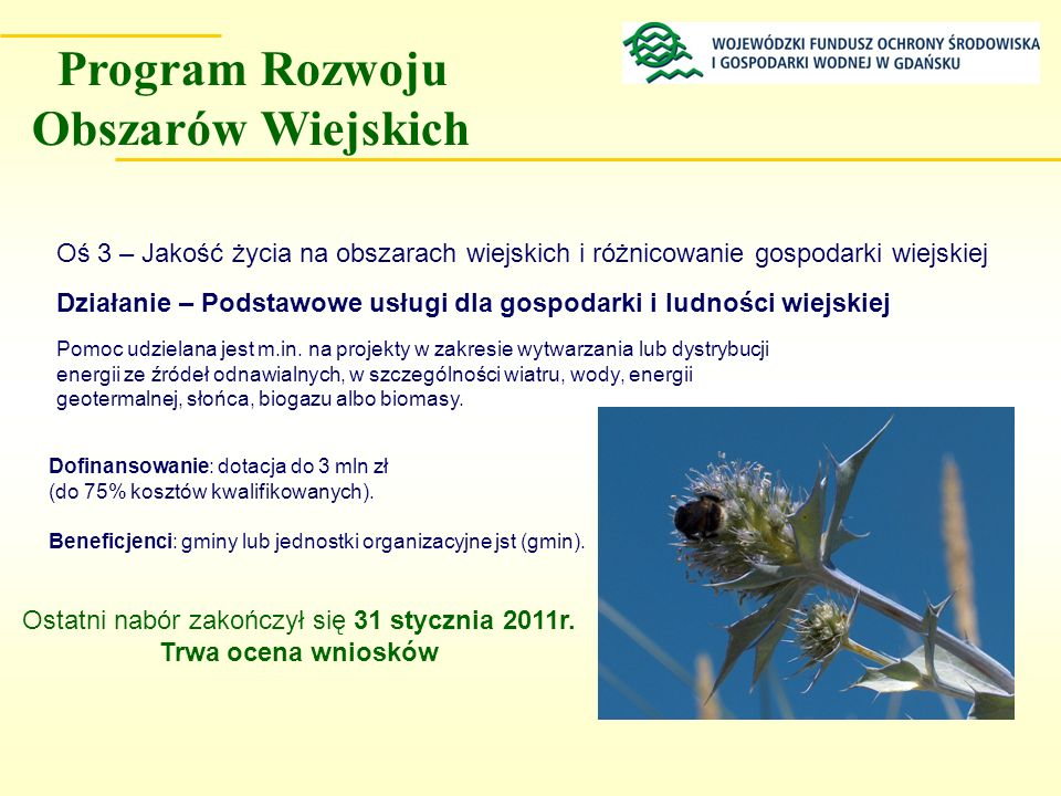 Dofinansowanie: dotacja do 3 mln zł (do 75% kosztów kwalifikowanych). Działanie – Podstawowe usługi dla gospodarki i ludności wiejskiej Pomoc udzielan