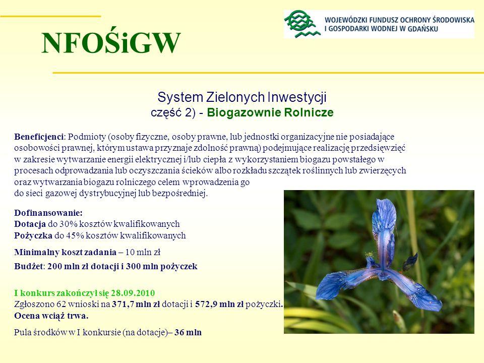 System Zielonych Inwestycji część 2) - Biogazownie Rolnicze Beneficjenci: Podmioty (osoby fizyczne, osoby prawne, lub jednostki organizacyjne nie posi