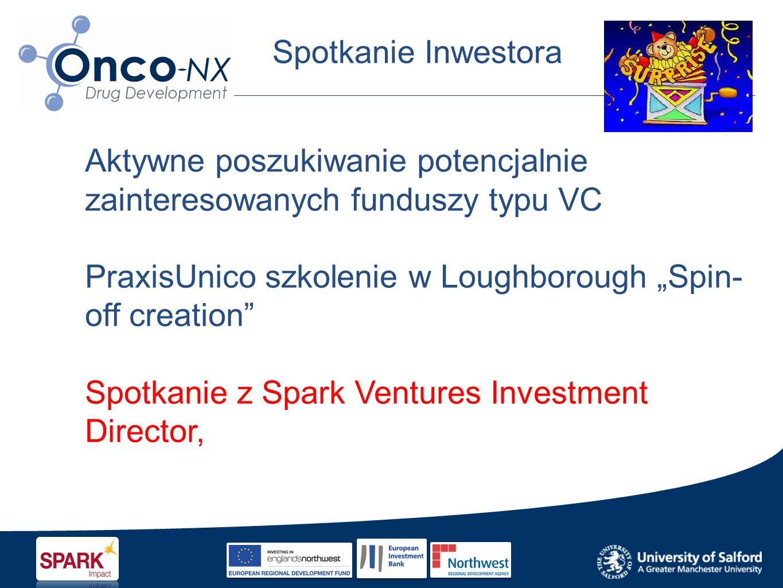 Spotkanie Inwestora Aktywne poszukiwanie potencjalnie zainteresowanych funduszy typu VC PraxisUnico szkolenie w Loughborough Spin- off creation Spotkanie z Spark Ventures Investment Director,