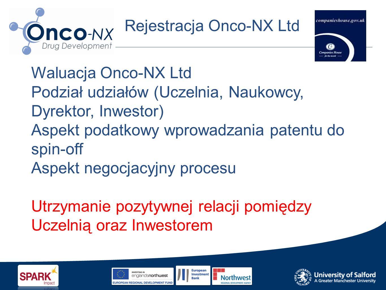 Rejestracja Onco-NX Ltd Waluacja Onco-NX Ltd Podział udziałów (Uczelnia, Naukowcy, Dyrektor, Inwestor) Aspekt podatkowy wprowadzania patentu do spin-off Aspekt negocjacyjny procesu Utrzymanie pozytywnej relacji pomiędzy Uczelnią oraz Inwestorem