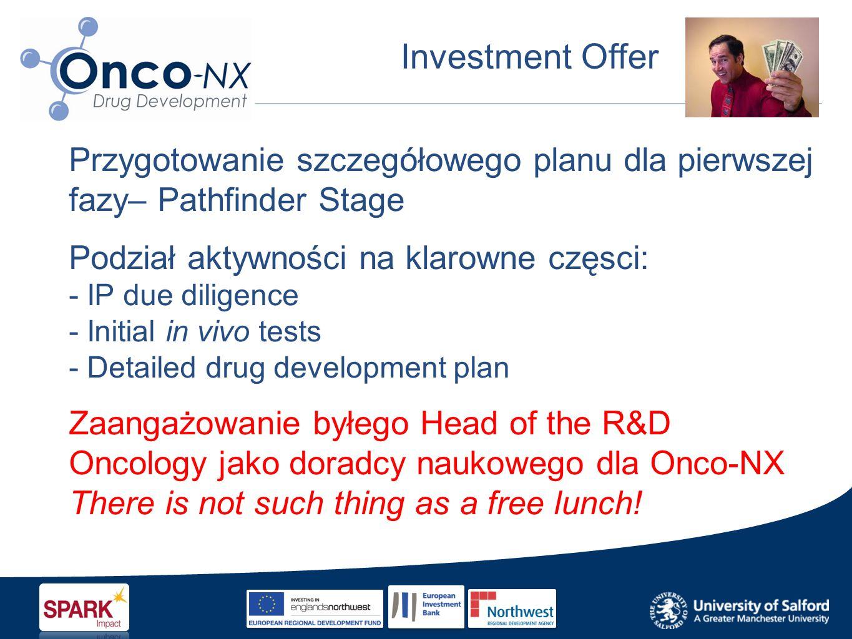 Investment Offer Przygotowanie szczegółowego planu dla pierwszej fazy– Pathfinder Stage Podział aktywności na klarowne częsci: - IP due diligence - Initial in vivo tests - Detailed drug development plan Zaangażowanie byłego Head of the R&D Oncology jako doradcy naukowego dla Onco-NX There is not such thing as a free lunch!