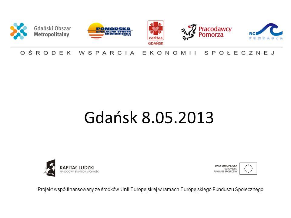 Gdańsk 8.05.2013 Projekt współfinansowany ze środków Unii Europejskiej w ramach Europejskiego Funduszu Społecznego