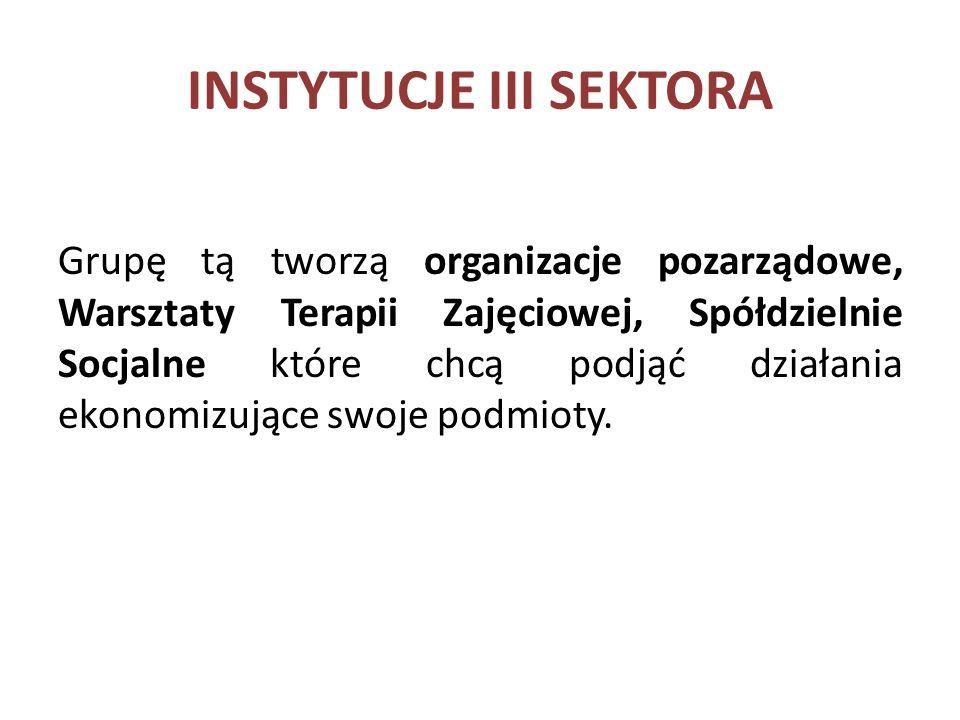 INSTYTUCJE III SEKTORA Grupę tą tworzą organizacje pozarządowe, Warsztaty Terapii Zajęciowej, Spółdzielnie Socjalne które chcą podjąć działania ekonomizujące swoje podmioty.