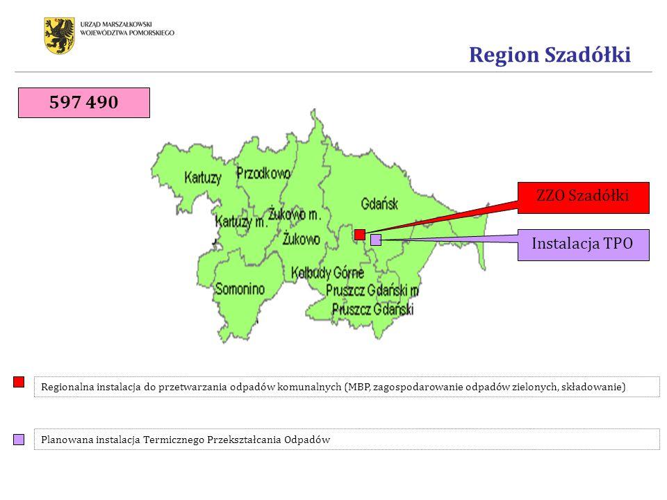 Region Szadółki ZZO Szadółki Instalacja TPO Regionalna instalacja do przetwarzania odpadów komunalnych (MBP, zagospodarowanie odpadów zielonych, składowanie) Planowana instalacja Termicznego Przekształcania Odpadów 597 490