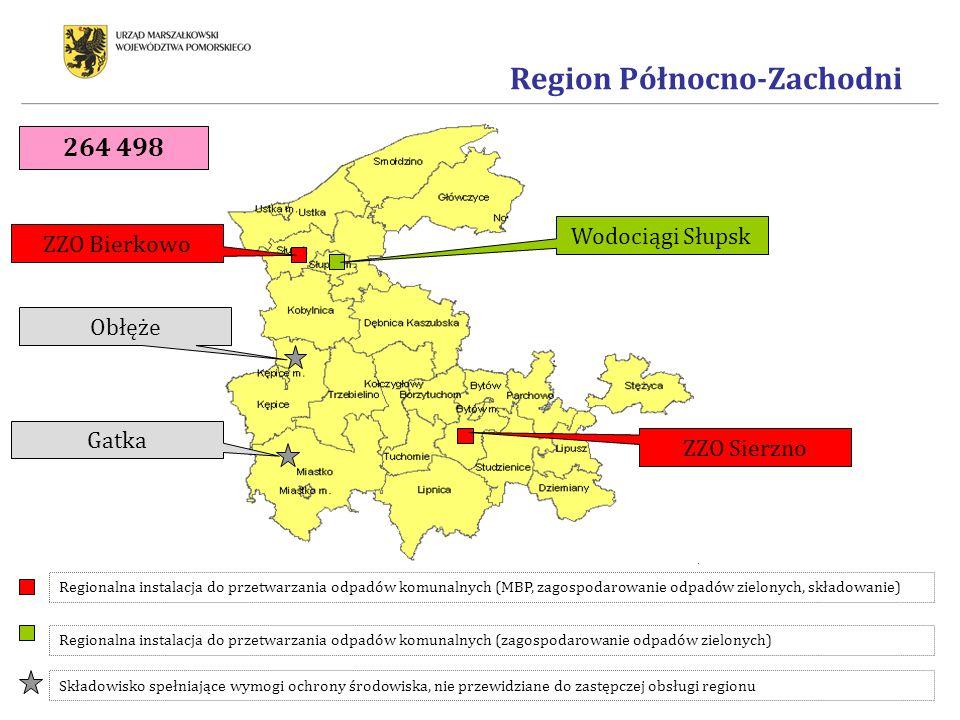 Region Północno-Zachodni Regionalna instalacja do przetwarzania odpadów komunalnych (MBP, zagospodarowanie odpadów zielonych, składowanie) Składowisko spełniające wymogi ochrony środowiska, nie przewidziane do zastępczej obsługi regionu Regionalna instalacja do przetwarzania odpadów komunalnych (zagospodarowanie odpadów zielonych) ZZO Bierkowo Wodociągi Słupsk ZZO Sierzno Obłęże Gatka 264 498