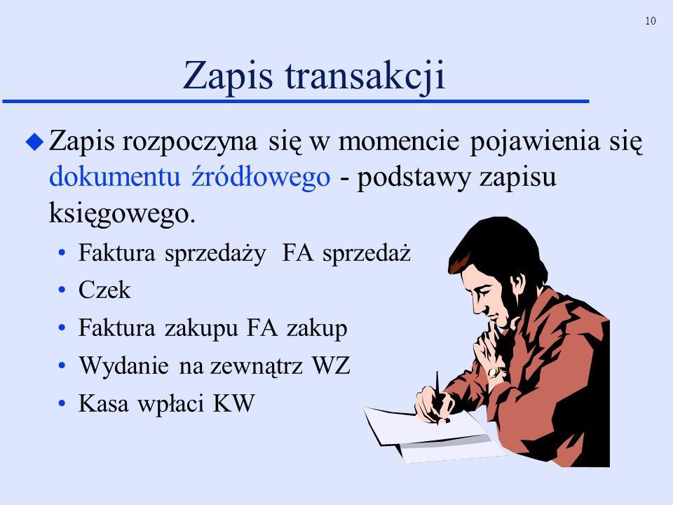 10 Zapis transakcji u Zapis rozpoczyna się w momencie pojawienia się dokumentu źródłowego - podstawy zapisu księgowego. Faktura sprzedaży FA sprzedaż