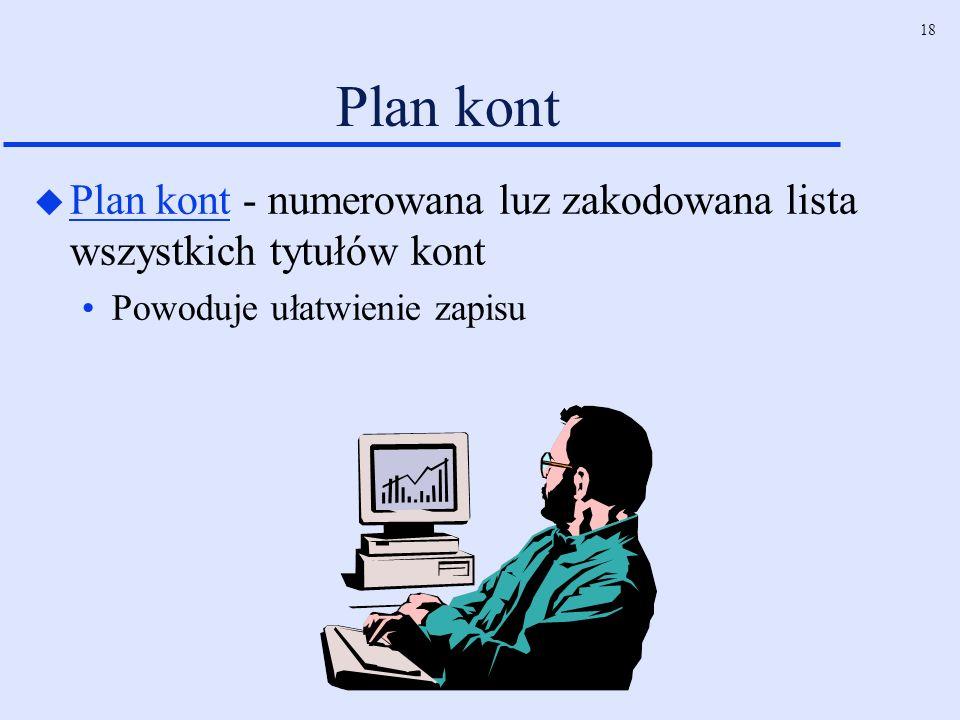 18 Plan kont u Plan kont - numerowana luz zakodowana lista wszystkich tytułów kont Powoduje ułatwienie zapisu
