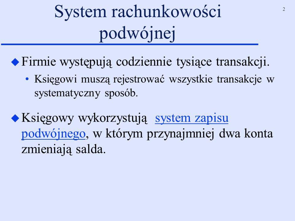2 System rachunkowości podwójnej u Firmie występują codziennie tysiące transakcji. Księgowi muszą rejestrować wszystkie transakcje w systematyczny spo