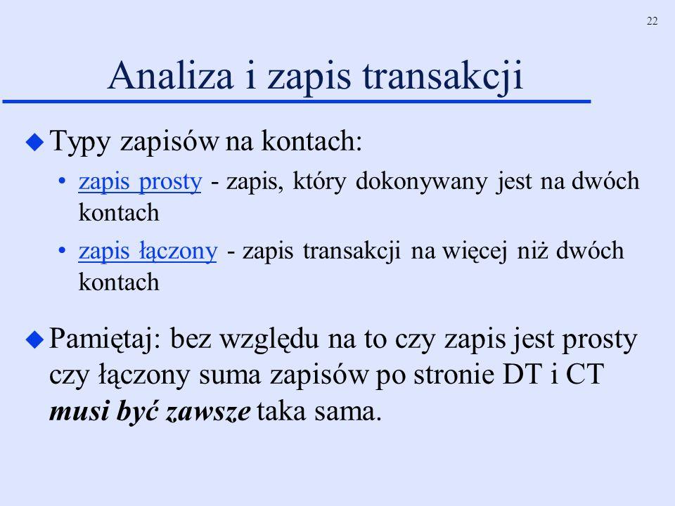 22 Analiza i zapis transakcji u Typy zapisów na kontach: zapis prosty - zapis, który dokonywany jest na dwóch kontach zapis łączony - zapis transakcji