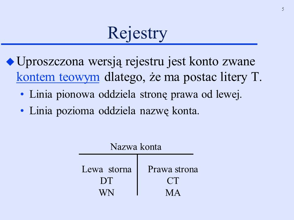 5 Rejestry u Uproszczona wersją rejestru jest konto zwane kontem teowym dlatego, że ma postac litery T. Linia pionowa oddziela stronę prawa od lewej.