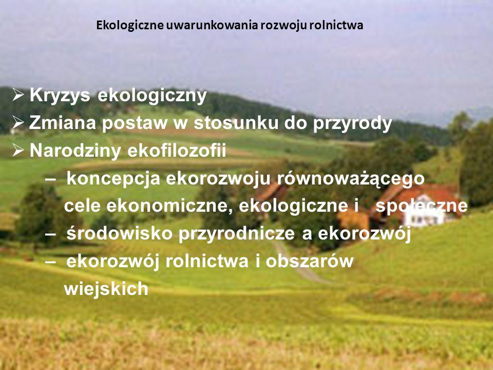 Kryzys ekologiczny Zmiana postaw w stosunku do przyrody Narodziny ekofilozofii – koncepcja ekorozwoju równoważącego cele ekonomiczne, ekologiczne i sp