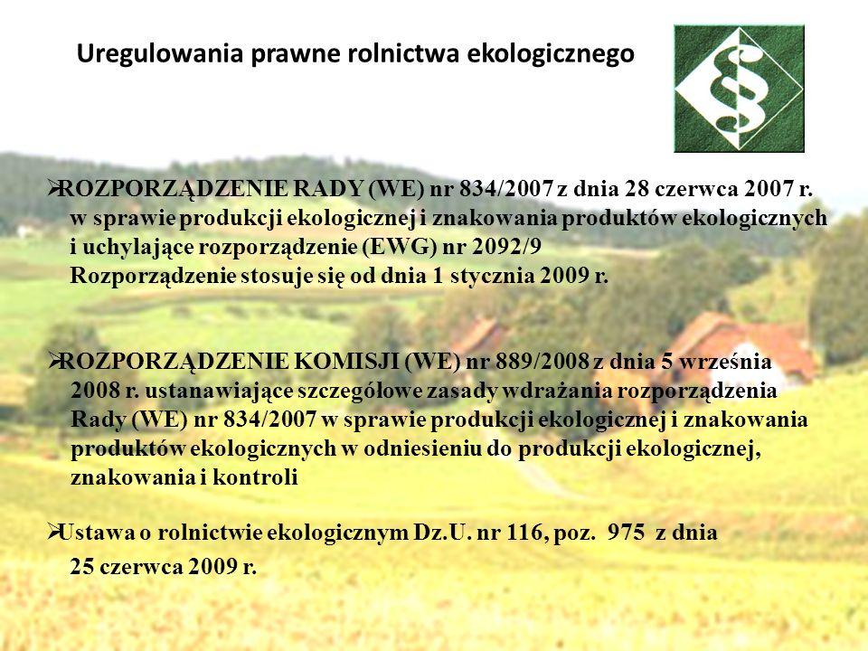 Uregulowania prawne rolnictwa ekologicznego ROZPORZĄDZENIE RADY (WE) nr 834/2007 z dnia 28 czerwca 2007 r. w sprawie produkcji ekologicznej i znakowan