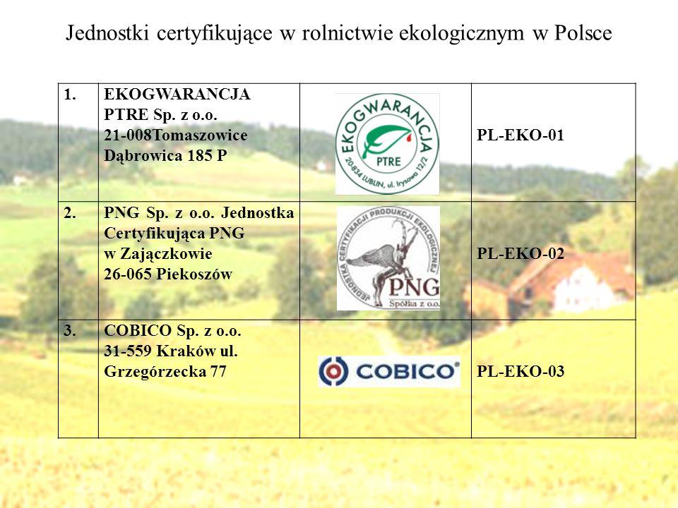 Jednostki certyfikujące w rolnictwie ekologicznym w Polsce 1.EKOGWARANCJA PTRE Sp. z o.o. 21-008Tomaszowice Dąbrowica 185 P PL-EKO-01 2.PNG Sp. z o.o.