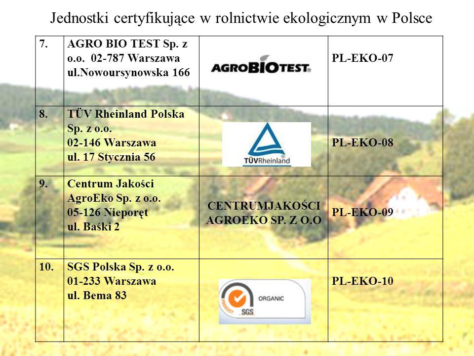 7.AGRO BIO TEST Sp. z o.o. 02-787 Warszawa ul.Nowoursynowska 166 PL-EKO-07 8.TÜV Rheinland Polska Sp. z o.o. 02-146 Warszawa ul. 17 Stycznia 56 PL-EKO
