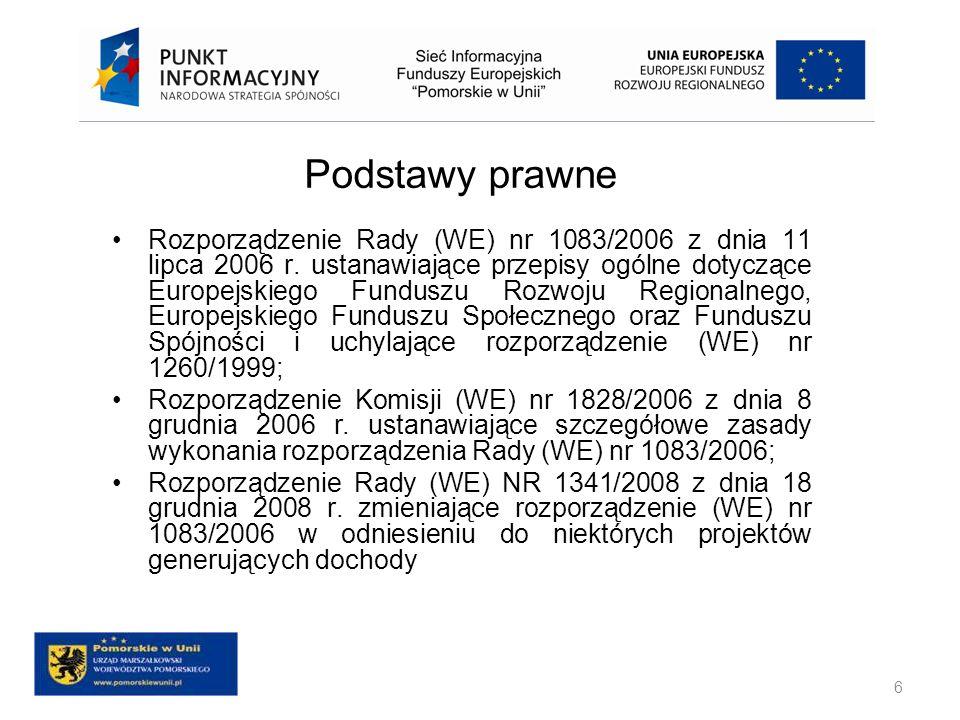 Podstawy prawne Rozporządzenie Parlamentu Europejskiego i Rady (WE) nr 1084/2006 z dnia 11 lipca 2006 r ustanawiające Fundusz Spójności i uchylające rozporządzenie (WE) nr 1164/94; Rozporządzenie Parlamentu Europejskiego i Rady (WE) nr 1081/2006 z dnia 5 lipca 2006 r.