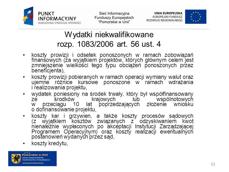 Wydatki niekwalifikowane rozp. 1083/2006 art. 56 ust. 4 koszty prowizji i odsetek ponoszonych w ramach zobowiązań finansowych (za wyjątkiem projektów,