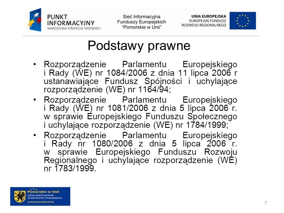 Podstawy prawne Rozporządzenie Parlamentu Europejskiego i Rady (WE) nr 1084/2006 z dnia 11 lipca 2006 r ustanawiające Fundusz Spójności i uchylające r