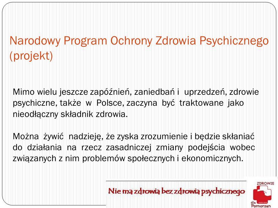 Narodowy Program Ochrony Zdrowia Psychicznego (projekt) Mimo wielu jeszcze zapóźnień, zaniedbań i uprzedzeń, zdrowie psychiczne, także w Polsce, zaczy