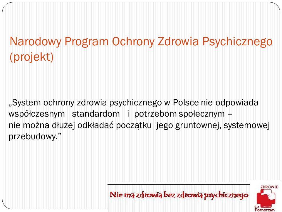 Narodowy Program Ochrony Zdrowia Psychicznego (projekt) System ochrony zdrowia psychicznego w Polsce nie odpowiada współczesnym standardom i potrzebom