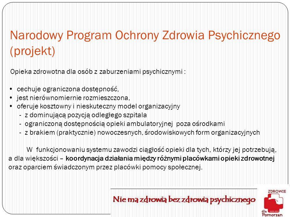 Narodowy Program Ochrony Zdrowia Psychicznego (projekt) Opieka zdrowotna dla osób z zaburzeniami psychicznymi : cechuje ograniczona dostępność, jest n