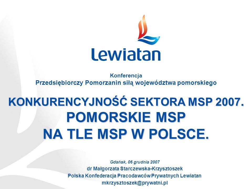 KONKURENCYJNOŚĆ SEKTORA MSP 2007. POMORSKIE MSP NA TLE MSP W POLSCE. Gdańsk, 06 grudnia 2007 dr Małgorzata Starczewska-Krzysztoszek Polska Konfederacj