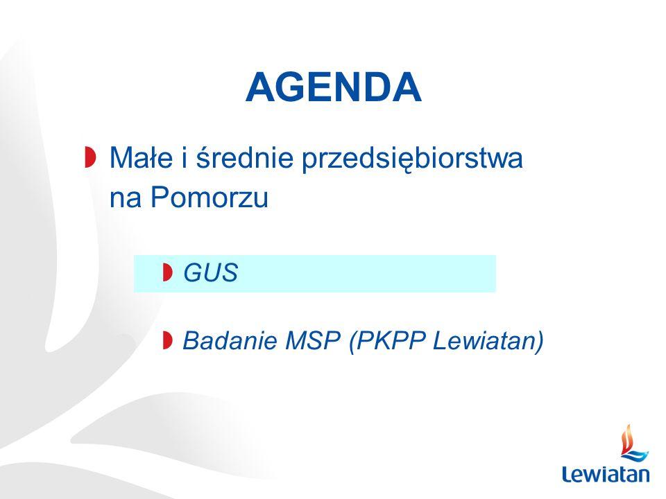 AGENDA Małe i średnie przedsiębiorstwa na Pomorzu GUS Badanie MSP (PKPP Lewiatan)
